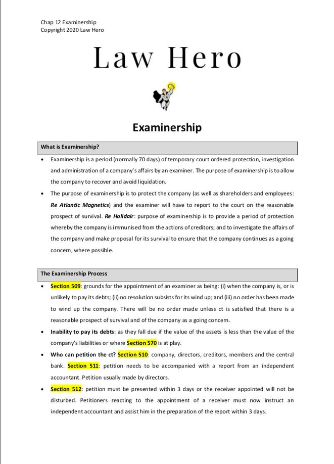 Chap 12 Examinership