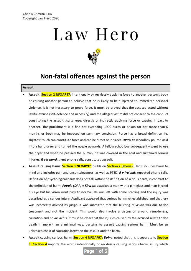 Chap 4 Non fatal offences against the person