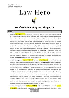 Chap 4 Non fatal offences against the person