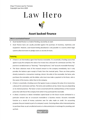 Chap 7 Asset backed finance