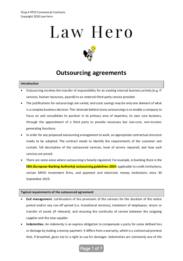Chap 4 Outsourcing agreements