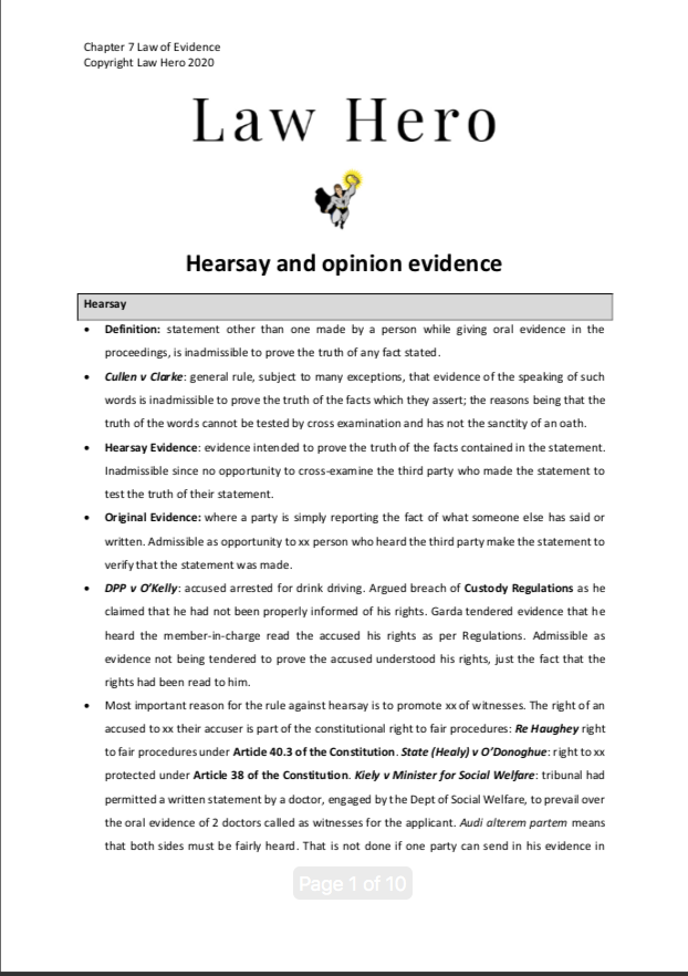 Chap 7 Hearsay and opinion evidence
