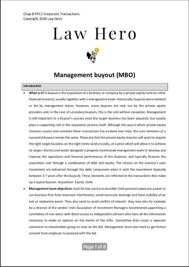 Chap 8 Management buy out