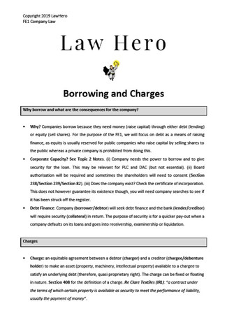 Company Law Borrowing and Charges