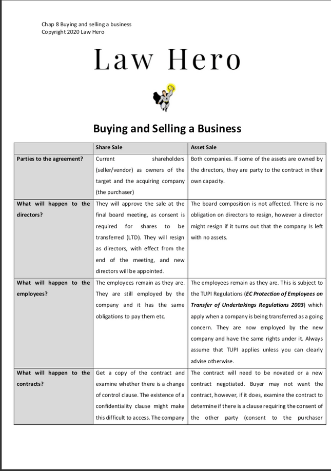 Chap 8 Buying and selling a business