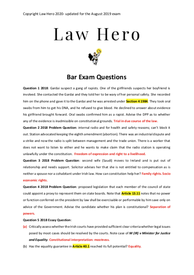 Chap 8 Bar exam papers Constitutional Law