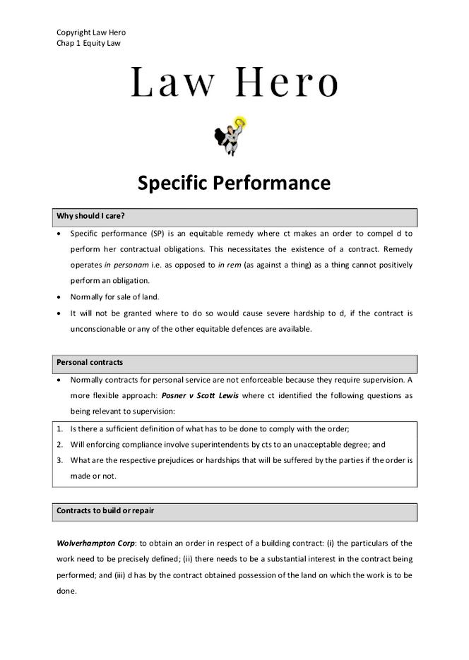 Chap 1 Specific Peformance