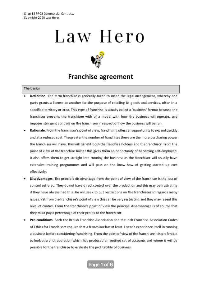 Chap 12 Franchise agreements