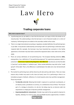 Chap 2 Trading corporate loans