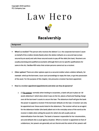 Company Law Receivership