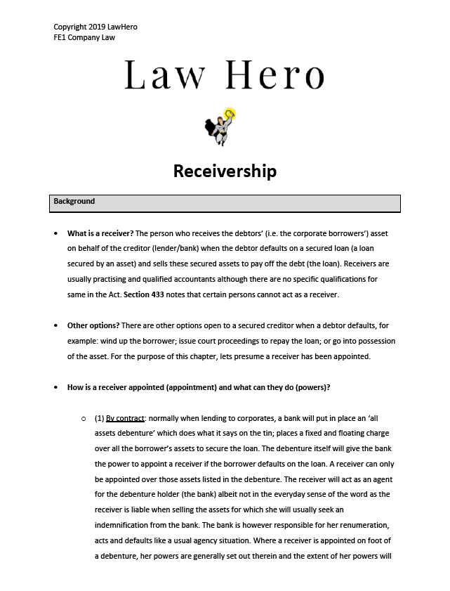 Company Law Receivership