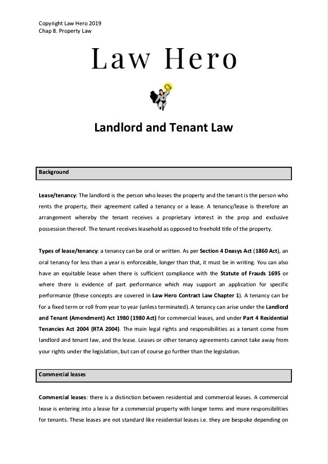 Chapter 8 Landlord and Tenant Law