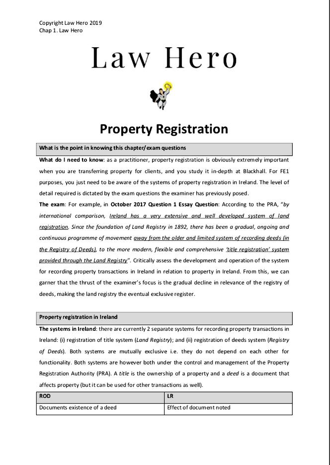 Chapter 1 Property Registration