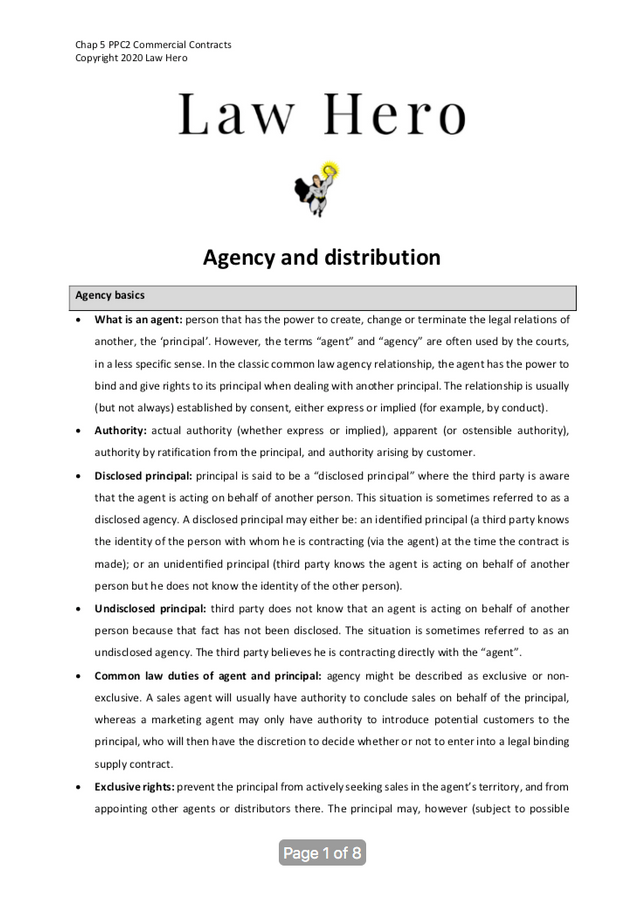 Chap 5 Agency and distribution