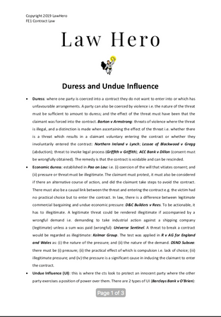 Duress and Undue Influence