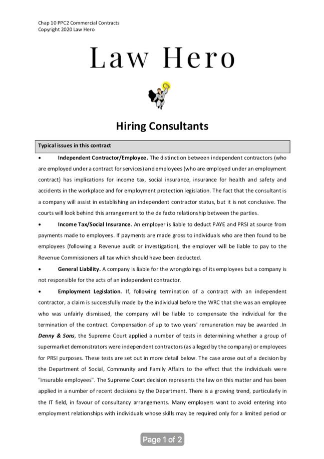 Chap 10 Hiring consultants