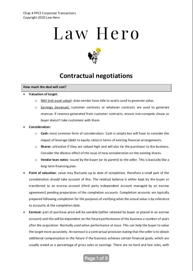 Chap 4 Contractual negociations