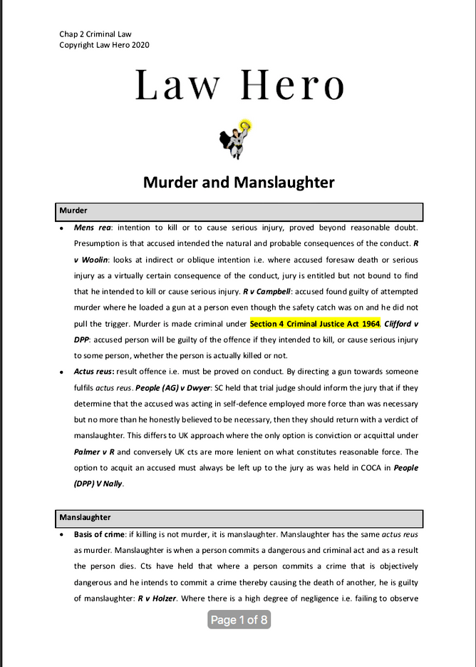 Murder and Manslaughter