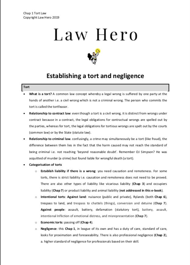 1. TORT Intro and Negligence