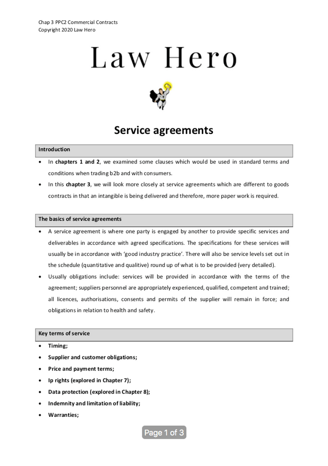 Chap 3 Service agreements