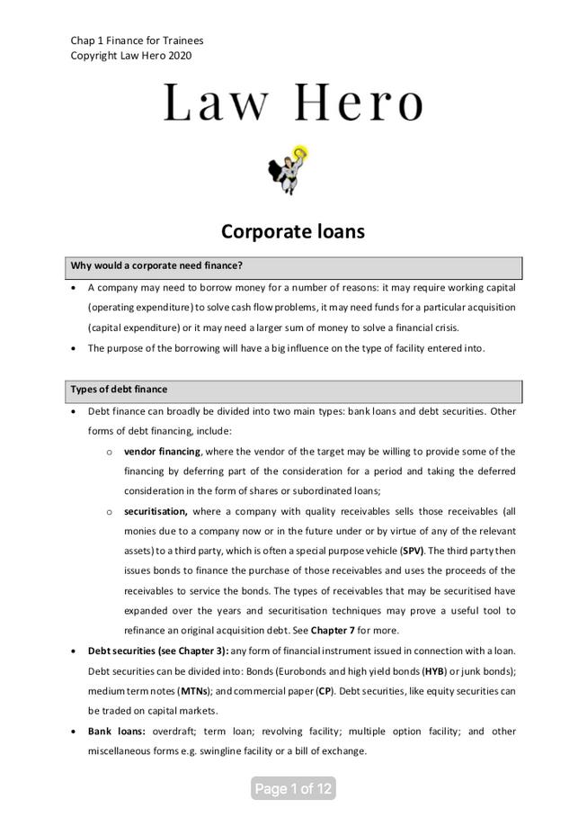 Chap 1 Corporate loans