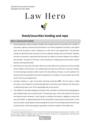 Chap 8 Stock/securities lending and repo