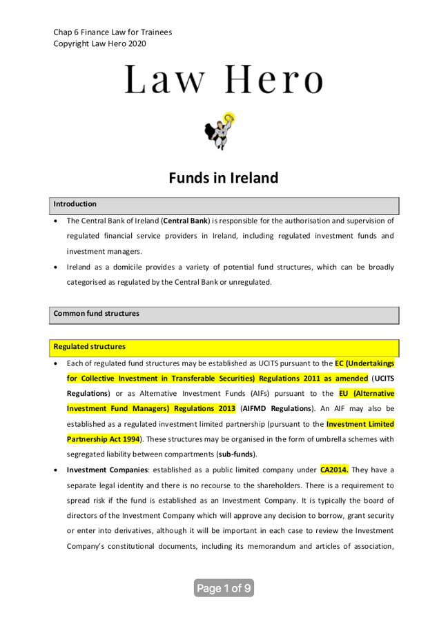 Chap 6 Funds in Ireland