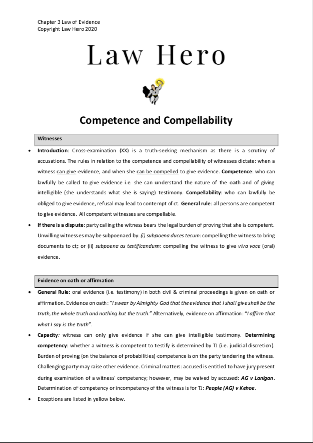 Chap 3 Competence and Compellability