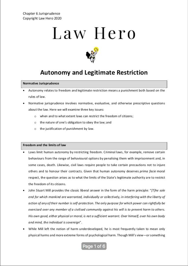 Chapter 6 Autonomy and Legitmate restriction
