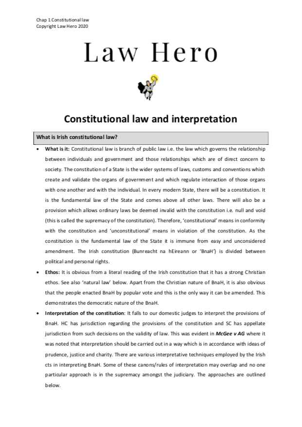 Chap 1 Constitutional Law and Interpretation