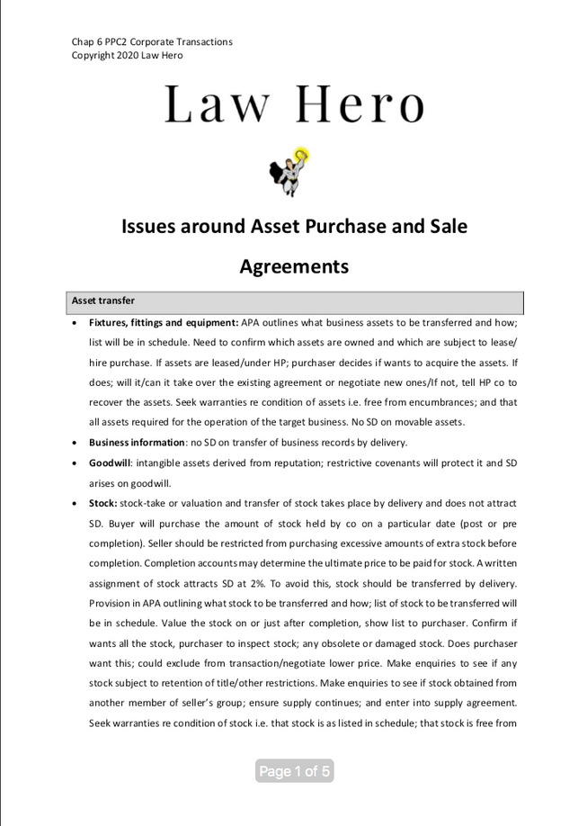Chap 6 Issues around asset purchase agreements