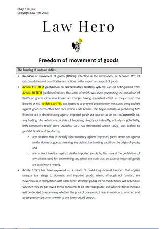 Freedom of Movement of Goods