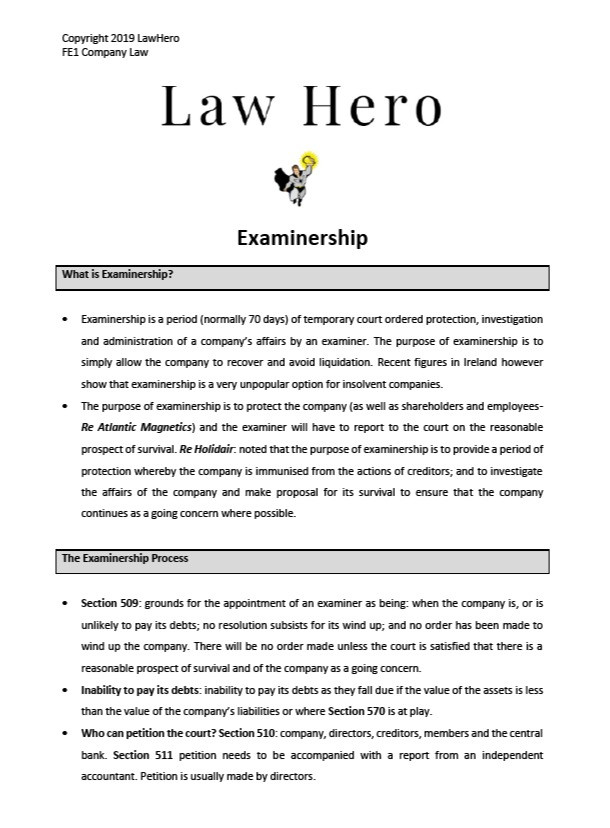 Company Law Examinership