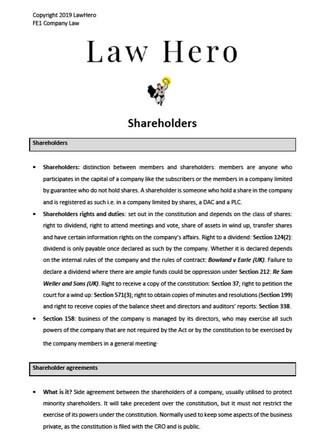 Company Law Shareholders