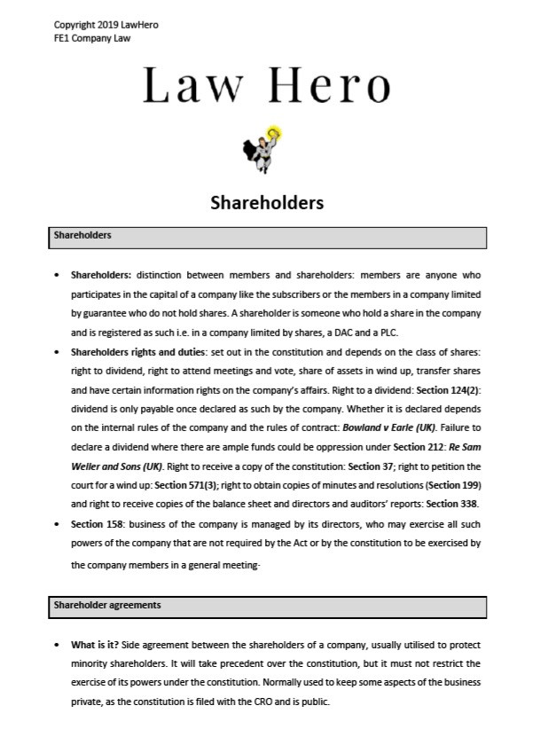 Company Law Shareholders