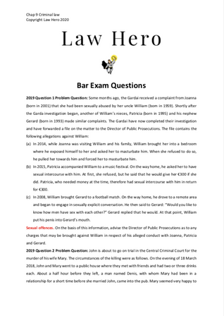 Chap 9 Criminal law bar exam questions