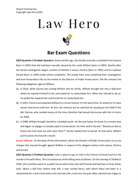 Chap 9 Criminal law bar exam questions