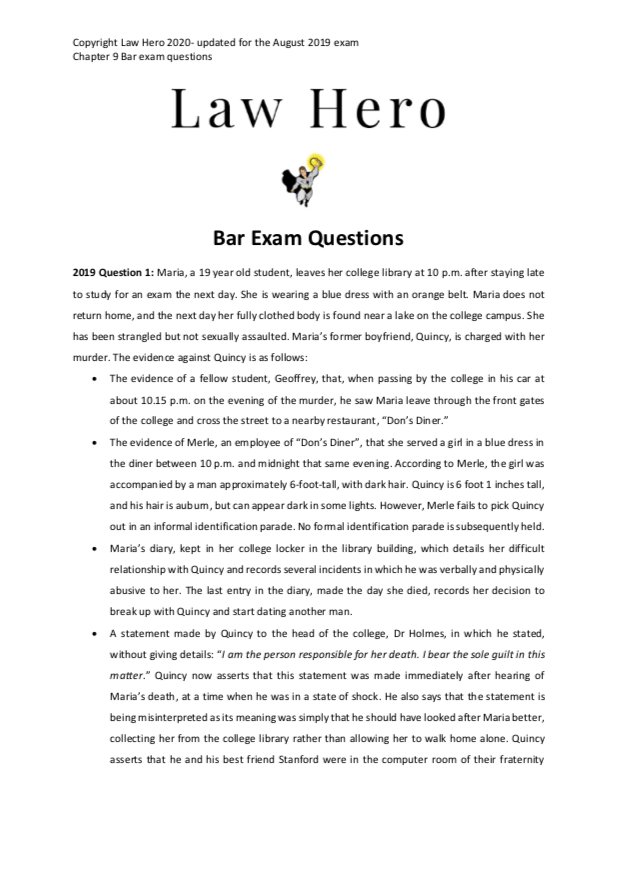 Chap 10 Bar Exam Questions Evidence