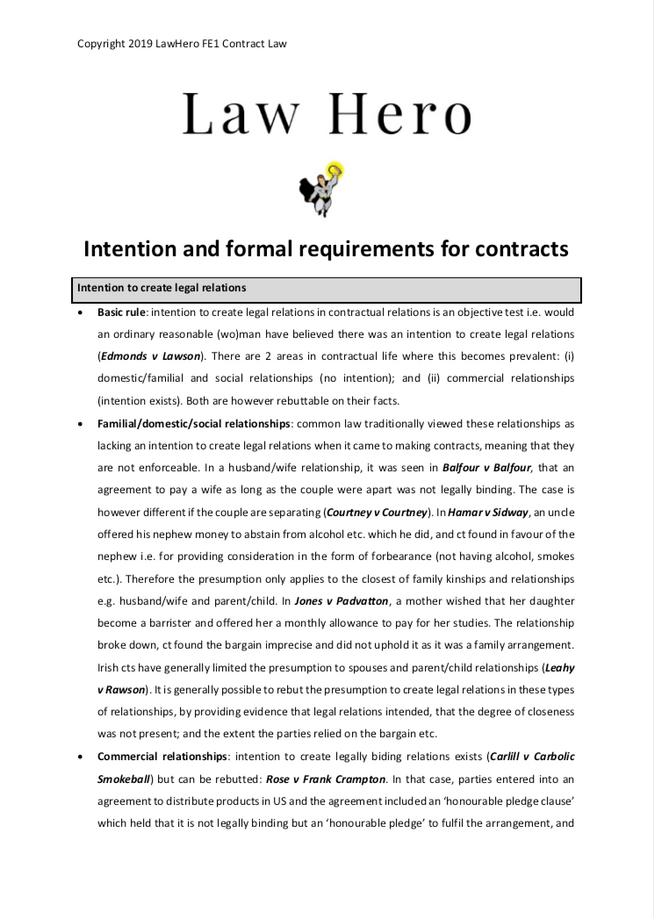 Intention and formal requirements for contracts