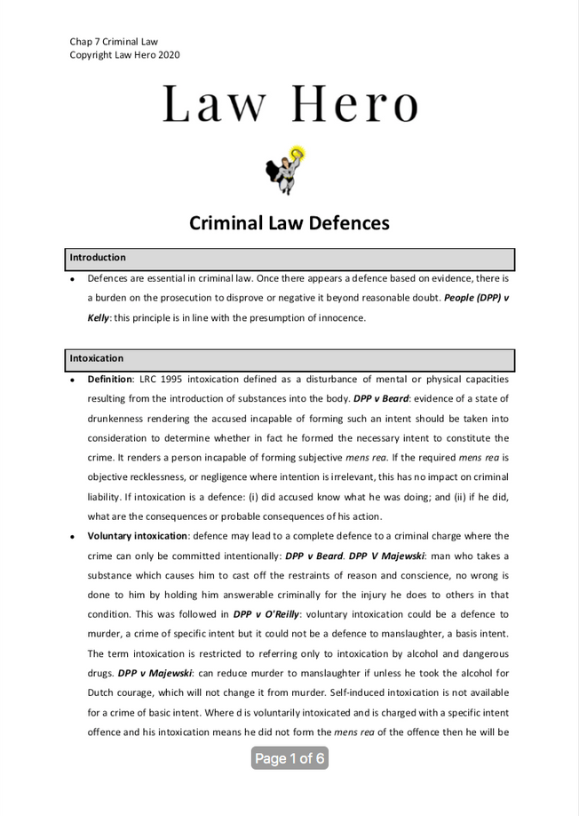 Chap 7 Criminal law defences
