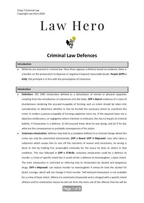Chap 7 Criminal law defences