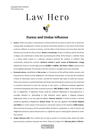 Chap 6 Duress and undue influence