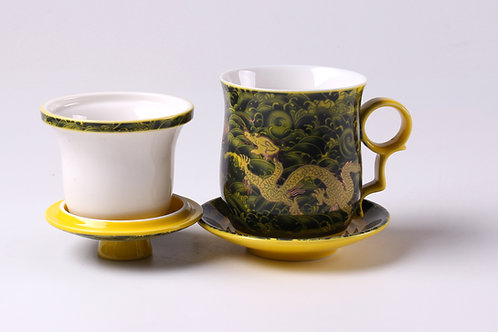 Yellow Dragon Porcelain Cup
