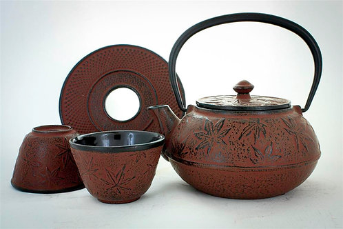 Cherry Red Cast Iron Tea Set