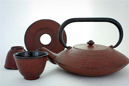 Cherry Red Cast Iron Tea Set