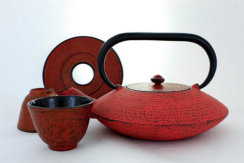Fiery Red Cast Iron Tea Set