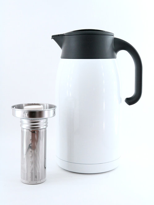 Pengu - Stainless Steel Vacuum Tea & Coffee Pot with S/S - Pearl White (1.5 L)
