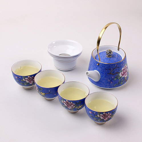 Service à thé pivoine bleu