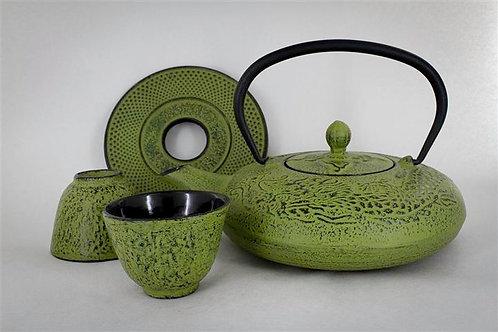 Service à thé en fonte vert mouse