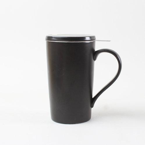 Tasse en porcelaine avec infuseur et couvercle, noir